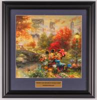 "Thomas Kinkade Walt Disney's ""Mickey & Minnie in Central Park"" 15.5x16.5 Custom Framed Print Display at PristineAuction.com"