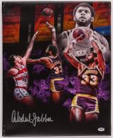 Kareem Abdul-Jabbar Signed Lakers 16x20 Photo On Canvas (PSA COA) at PristineAuction.com