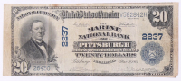 1902 $20 Twenty Dollars U.S. National Currency Bank Note - The Marine National Bank at Pittsburgh, Pennsylvania at PristineAuction.com