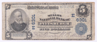 1902 $5 Five Dollars U.S. National Currency Bank Note - The Mellon National Bank City of Pittsburgh, Pennsylvania at PristineAuction.com