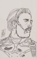 """Tom Hodges - Captain America - Marvel Comics - Signed ORIGINAL 5.5"""" x 8.5"""" Drawing on Paper (1/1) at PristineAuction.com"""