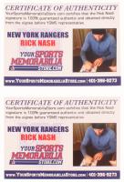 Lot of (2) Rick Nash Signed Rangers Logo Items with (1) Mini Helmet & (1) 8x10 Photo (Your Sports Memorabilia Store COA) at PristineAuction.com