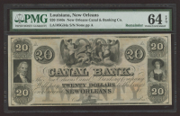 1840's $20 Twenty-Dollar The New Orleans Canal & Banking Co. New Orleans, Louisiana Bank Note (PMG 64) at PristineAuction.com