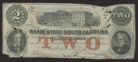 1800s $2 Two Dollars South Carolina Civil War Bank Note at PristineAuction.com