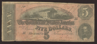 1864 $5 Five Dollars Confederate States of America Richmond CSA Bank Note Bill at PristineAuction.com