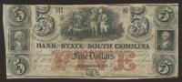 1860-1861 $5 Five Dollar South Carolina Bank Note Bill at PristineAuction.com