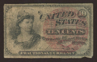 1863 United States 10¢ Ten Cents Fractional Postage Currency Bank Note at PristineAuction.com