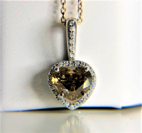 1.65ct Heart Shaped Fancy Deep Brown-Yellow & White Diamond Halo Pendant 14kt White Gold (GIA Certified) at PristineAuction.com