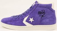 Magic Johnson Signed Converse Basketball Shoe With Lakers Display Case (Beckett COA) at PristineAuction.com