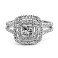 1.00ct Princess & Round Diamond Engagement Ring 14kt White Gold (IGI Certified) at PristineAuction.com