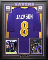 Lamar Jackson Signed 34.5x42.5 Custom Framed Jersey (JSA COA) at PristineAuction.com