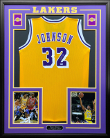Magic Johnson Signed 34.5x42.5 Custom Framed Jersey (PSA COA) at PristineAuction.com