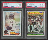 Lot of (2) Walter Payton Topps PSA Graded 8 Football Cards with 1981 #202 (PSA 8) & 1982 #302 (PSA 8) at PristineAuction.com