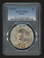 """1974-S Eisenhower """"Ike"""" Silver Dollar (PCGS MS66) at PristineAuction.com"""