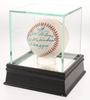 "Joe DiMaggio Signed Baseball with Display Case Inscribed ""Best Wishes"" (JSA LOA) at PristineAuction.com"