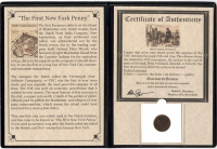 First New York Penny: 1726-1794 Dutch VOC Copper Duit Colonial Coin with Album at PristineAuction.com