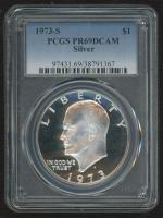 "1973-S Eisenhower ""Ike"" $1 Dollar Coin (PCGS PR69DCAM) at PristineAuction.com"