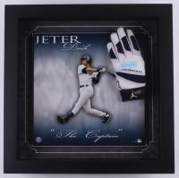 Derek Jeter Signed Yankees 20.75x20.75 Custom Framed Game-Used Batting Glove Shadowbox Display (Steiner LOA) at PristineAuction.com