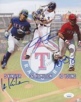 Josh Hamilton, Ian Kinsler & Michael Young Signed Rangers 8x10 Photo (JSA COA) at PristineAuction.com