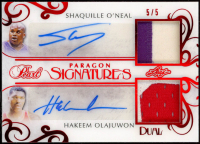 Shaquille O'Neal / Hakeem Olajuwon 2018-19 Leaf Pearl Paragon Signatures 2 Red Spectrum Holofoil #PS203 at PristineAuction.com