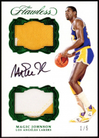 Magic Johnson 2016-17 Panini Flawless Dual Patch Autographs Emerald #5 at PristineAuction.com