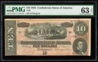 1864 $10 Ten-Dollar Confederate States of America Richmond CSA Bank Note (PMG 63) (EPQ) at PristineAuction.com