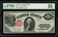 1917 $1 One-Dollar Red Seal U.S. Legal Tender Large-Size Bank Note (PMG 35) at PristineAuction.com