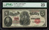 1907 $5 Five-Dollar Red Seal U.S. Legal Tender Large-Size Bank Note (PMG 25) at PristineAuction.com