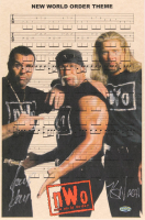 "Kevin Nash & Scott Hall Signed ""New World Order Theme"" Sheet Music 11x17 Photo (Playball Ink Hologram) at PristineAuction.com"