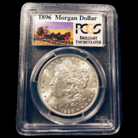 1896 Morgan Silver Dollar - Stage Coach Label (PCGS Brilliant Uncirculated) at PristineAuction.com