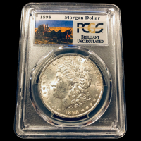 1898 Morgan Silver Dollar - Stage Coach Label (PCGS Brilliant Uncirculated) at PristineAuction.com