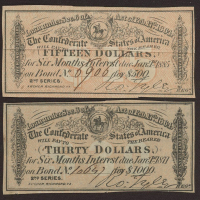 Lot of (2) Confederate States of America Richmond CSA Bank Note Bonds with (1) 1864 $15 Fifteen-Dollar Note & (1) 1864 $30 Thirty-Dollar Note at PristineAuction.com