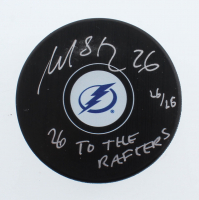"""Martin St. Louis Signed LE Lightning Logo Hockey Puck Inscribed """"26 To The Rafters"""" (YSMS COA) at PristineAuction.com"""