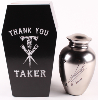 "The Undertaker Signed ""Thank You Taker"" Commemorative Urn with Carrier Coffin Box Inscribed ""2019"" (JSA Hologram) at PristineAuction.com"
