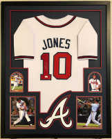 Chipper Jones Signed 34x42 Custom Framed Jersey (JSA COA) at PristineAuction.com