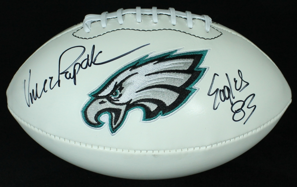 92d2e934840 Vince Papale Signed Eagles Logo Football Inscribed