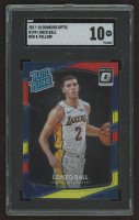 Lonzo Ball 2017-18 Donruss Optic Mega Box Rated Rookie Red Yellow #199 RR RC (SGC 10) at PristineAuction.com