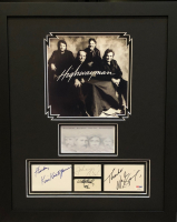 """The Highwaymen"" 18x22 Custom Framed Cut Display Signed by (4) with Johnny Cash, Waylon Jennings, Kris Kristofferson & Willie Nelson (JSA COA & PSA LOA) at PristineAuction.com"