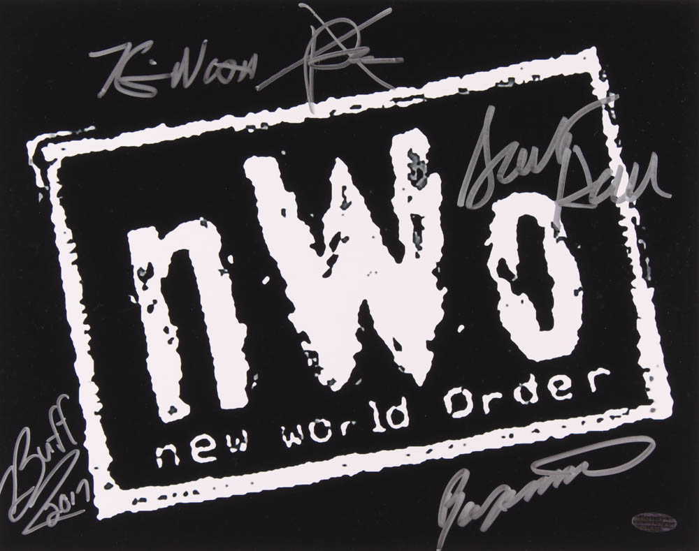 nWo 11x14 Photo Signed by (5) with Kevin Nash, X-Pac, Scott Hall, Buff Bagwell & Ron Simmons (Playball Ink Hologram) at PristineAuction.com