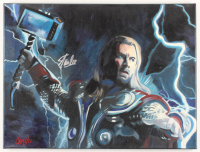 "Stan Lee & Chris Cargill Signed ""Thor"" 18x24 Acrylic Painting on Canvas (JSA COA & Cargill COA) at PristineAuction.com"