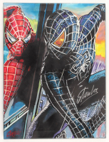 "Stan Lee & Chris Cargill Signed ""Spider-Man"" 18x24 Original Acrylic Painting on Canvas (JSA COA & Cargill COA) at PristineAuction.com"