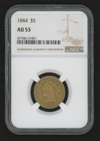1844 $5 Five Dollars Liberty Head Half Eagle Gold Coin (NGC AU 53) at PristineAuction.com