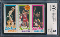 1980-81 Topps #6 34 Larry Bird RC / 174 Julius Erving TL / 139 Magic Johnson RC (BCCG 9) at PristineAuction.com