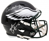 Carson Wentz & Zach Ertz Signed Eagles Full-Size Matte Black Speed Helmet (JSA Hologram & Fanatics Hologram) at PristineAuction.com
