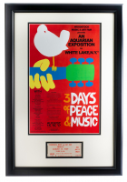 Woodstock 16x23 Custom Framed Poster Display with Original Friday Ticket at PristineAuction.com