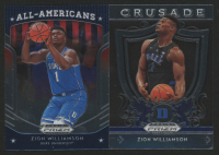 Lot of (2) Zion Williamson Basketball Cards with 2019-20 Panini Prizm Draft Picks #100 All-American & 2019-20 Panini Prizm Draft Picks #51 Crusade at PristineAuction.com