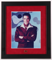 Elvis Presley 13x15 Custom Framed Photo Display with Vintage Elvis Confederate Pin at PristineAuction.com