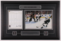 Wayne Gretzky Signed Kings 23x34 Custom Framed Score Sheet Display with (2) Pins (Gretzky COA) at PristineAuction.com