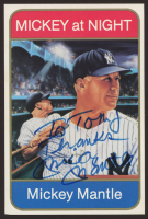 """Mickey Mantle Signed Sports Impressions """"Mickey at Night"""" 4x6 Stat Card Inscribed """"Thanks"""" (JSA ALOA) at PristineAuction.com"""