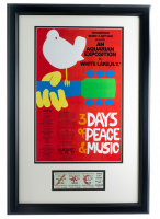 Woodstock 16x23 Custom Framed Poster Display with Vintage 1969 Full 3 Day Woodstock Ticket at PristineAuction.com